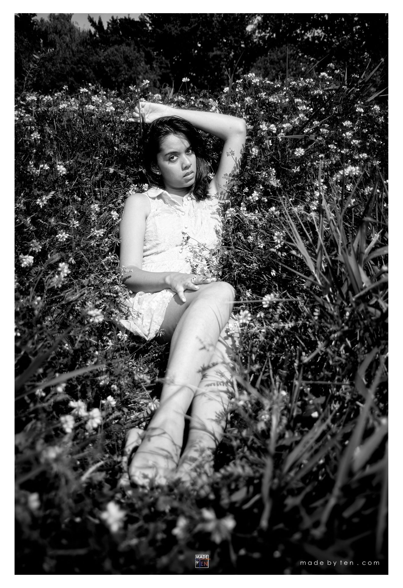 Woman Lying Bed Flowers - GTA Women Lifestyle Photography