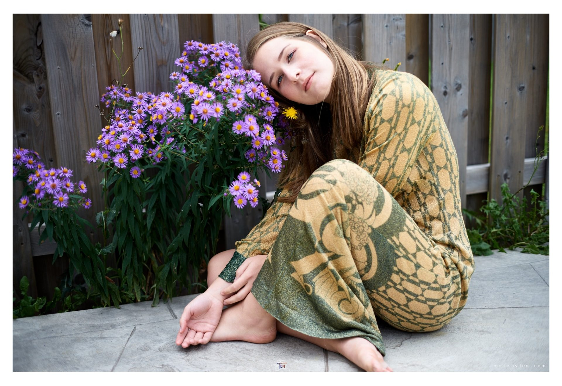 Dress with Purple Flowers - GTA Women Art Photography