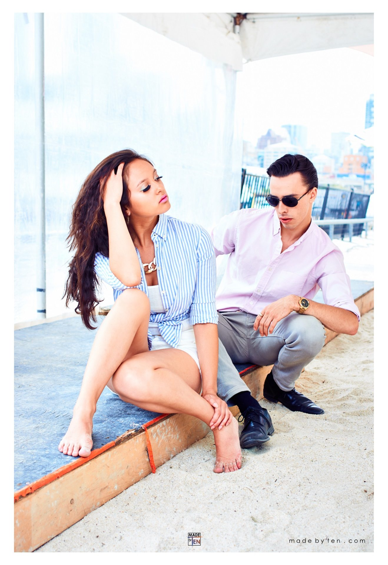 Beach Couple Fashion Editorial - GTA Women Lifestyle Photography