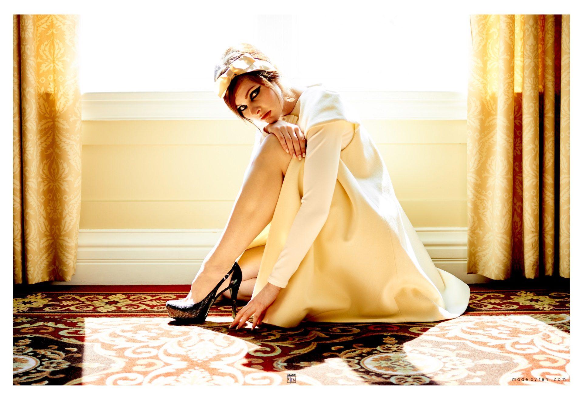 Woman Creative Dress Gold Window - GTA Women Fashion Photography