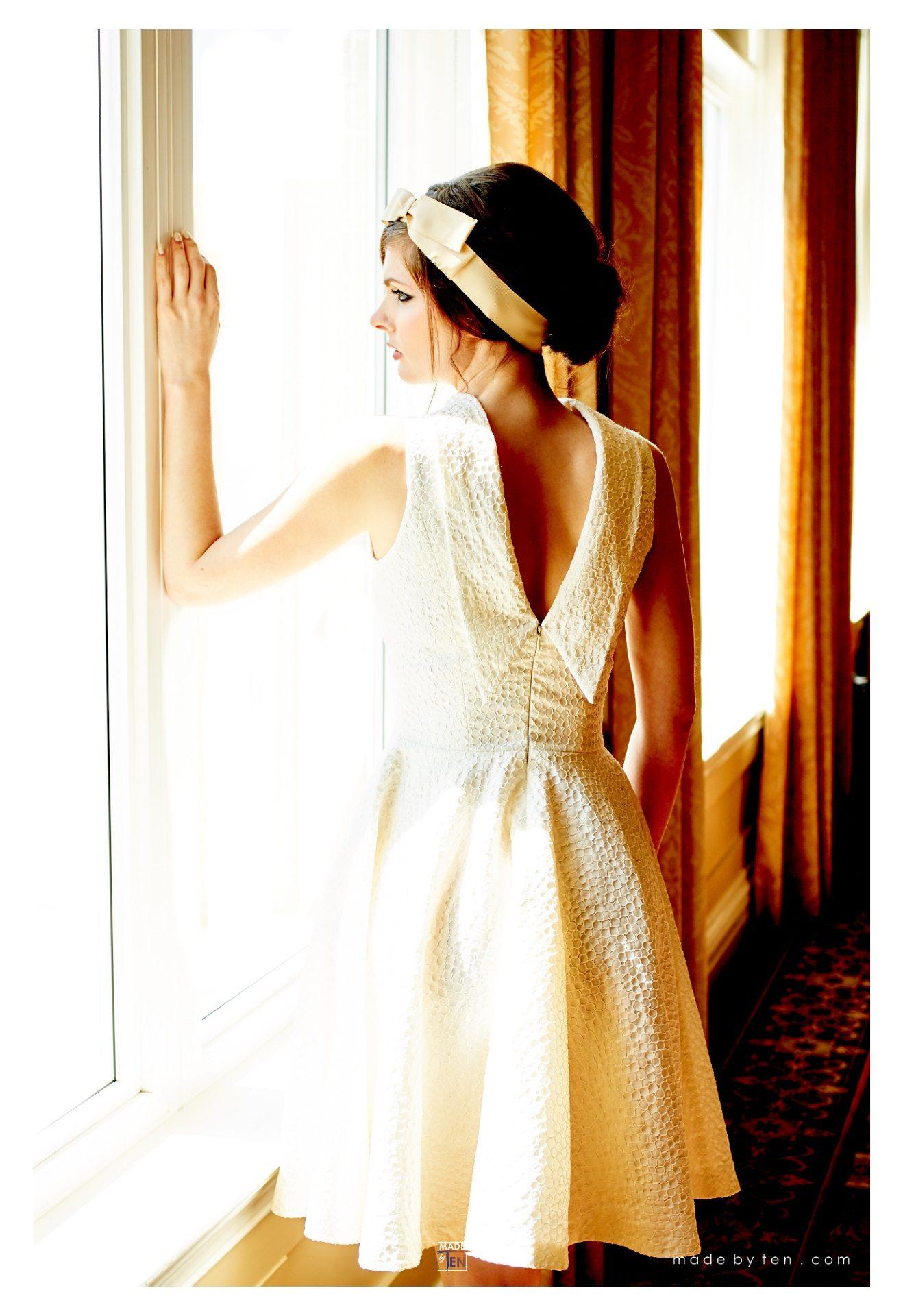 Woman Creative Dress Gold Window Drapes- GTA Women Fashion Photography