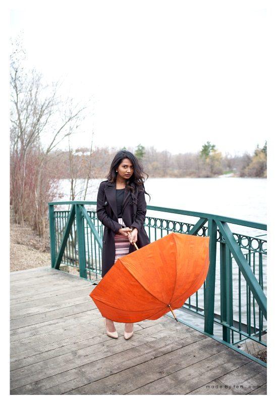Park Fashion Portrait Rain Photoshoot