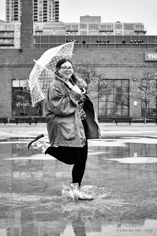 Rainy Umbrella Confidence Portrait Photographer GTA Ontario